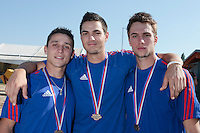22 August 2010: Matt Lapinski, Joris Navarro, and Quentin Pourcel pose at the 2010 European Championship, under 21, in Brno, Czech Republic.