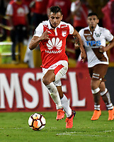 BOGOTA - COLOMBIA - 20 – 02 - 2018: Juan Roa, jugador de Independiente Santa Fe en accion durante partido de vuelta entre Independiente Santa Fe (COL) y Santiago Wanderers (CHL), de la fase 3 llave 1, por la Copa Conmebol Libertadores 2018, jugado en el estadio Nemesio Camcho El Campin de la ciudad de Bogota. / Juan Roa, player of Independiente Santa Fe, in action during a match for the second leg between Independiente Santa Fe (COL) and Santiago Wanderers (CHL), of the 3rd phase key 1, for the Copa Conmebol Libertadores 2018 at the Nemesio Camacho El Campin Stadium in Bogota city. Photo: VizzorImage  / Luis Ramirez / Staff.