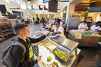 Salad station<br /> The Marketplace in the Johnson Student Center (JSC) on Jan. 24, 2019, maintained by Campus Dining.<br /> (Photo by Marc Campos, Occidental College Photographer)