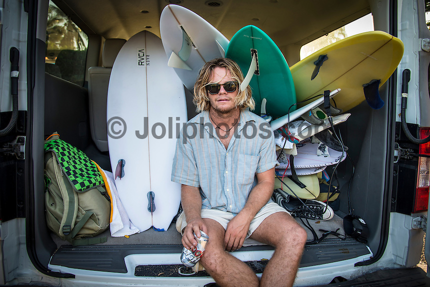 North Shore of Oahu, Hawaii Monday December 8 2014) - The surf was in the 4'-6' range at Pipeline and Backdoor today with a  dropping NNW swell and light  winds. A new more NW swell was slowing building during the day. Ellis Ericson's (AUS) Hawaiian quiver. Photo: joliphotos.com