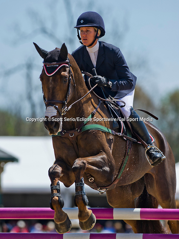 April 27, 2014: ARTHUR, ridden by Allison Springer (USA), competes in the Stadium Jumping Finals at the Rolex Kentucky 3-Day Event at the Kentucky Horse Park in Lexington, KY. Scott Serio/ESW/CSM