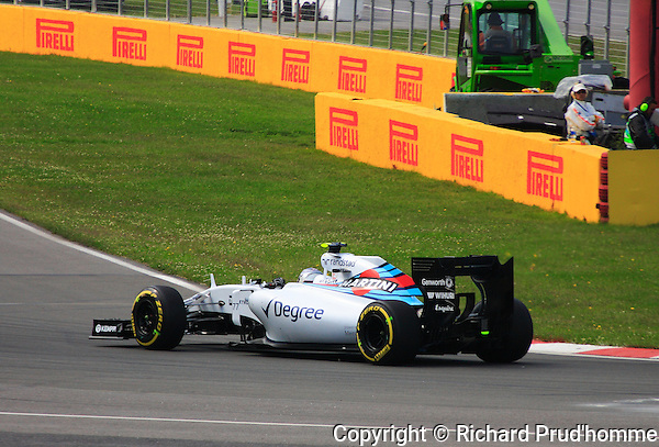 Valterri Bottas of Williams Martini team at the wheel of his FW37 Mercedes powered F1 car at a practice session during the 2015 Formula 1 Grand Prix of Canada