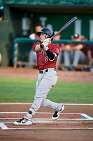 Nathan Eaton (8) of the Idaho Falls Chukars follows through on a swing during a game against the Ogden Raptors at Lindquist Field on August 29, 2018 in Ogden, Utah. Idaho Falls defeated Ogden 15-6. (Stephen Smith/Four Seam Images)