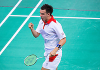 28 JUL 2012 - LONDON, GBR - Chris Adcock (GBR) (top) of Great Britain celebrates a point during the London 2012 Olympic Games mixed doubles group match with partner Imogen Bankier (GBR) against Alexandr Nikolaenko and Valeria Sorokina of Russia at Wembley Arena, London, Great Britain .(PHOTO (C) 2012 NIGEL FARROW)