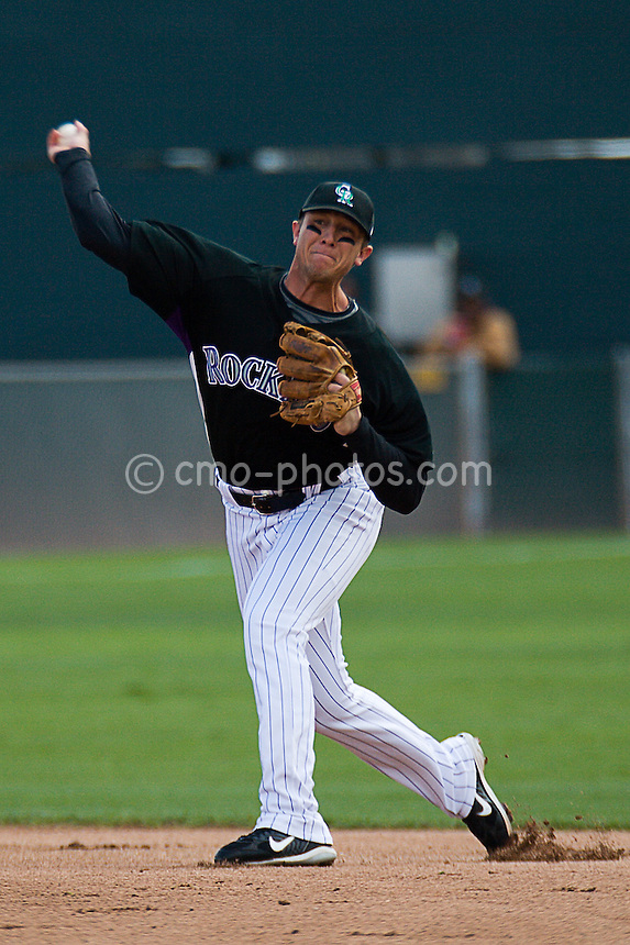 Mar 17, 2008; Tucson, AZ, USA; Colorado Rockies shortstop Troy Tulowitzki (2) throws to first in a game against the San Francisco Giants at Hi Corbett Field.