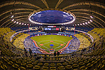 28 March 2014: Fans begin to fill the seats during batting practice as a total crowd of 46,121 come to a pre-season exhibition game between the Toronto Blue Jays and the New York Mets at Olympic Stadium, in Montreal, Quebec. The Blue Jays then broke a 4-4 deadlock in the bottom of the 9th to edge out the Mets 5-4 in the first MLB game in Montreal since September 29, 2004. Mandatory Credit: Ed Wolfstein Photo *** RAW (NEF) Image File Available ***