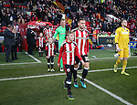 Billy Sharp of Sheffield Utd leads out the teams during the English League One match at the Bramall Lane Stadium, Sheffield. Picture date: November 19th, 2016. Pic Simon Bellis/Sportimage