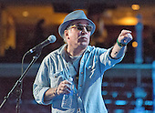 Singer and songwriter Paul Simon rehearses &quot;Bridge over Troubled Water&quot; prior to the start of the 2016 Democratic National Convention held at the Wells Fargo Center in Philadelphia, Pennsylvania on Sunday, July 24, 2016.<br /> Credit: Ron Sachs / CNP<br /> (RESTRICTION: NO New York or New Jersey Newspapers or newspapers within a 75 mile radius of New York City)