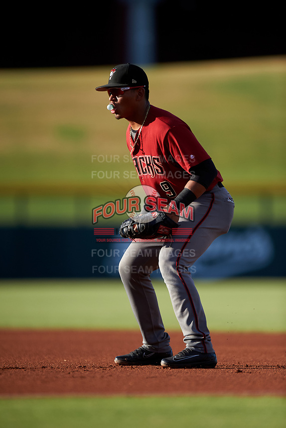 AZL Dbacks first baseman Sergio Gutierrez (9) during an Arizona League game against the AZL Cubs 2 on June 25, 2019 at Sloan Park in Mesa, Arizona. AZL Cubs 2 defeated the AZL Dbacks 4-0. (Zachary Lucy/Four Seam Images)