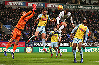 Bolton Wanderers' Christian Doidge meets a cross in the air<br /> <br /> Photographer Andrew Kearns/CameraSport<br /> <br /> The EFL Sky Bet Championship - Bolton Wanderers v Rotherham United - Wednesday 26th December 2018 - University of Bolton Stadium - Bolton<br /> <br /> World Copyright &copy; 2018 CameraSport. All rights reserved. 43 Linden Ave. Countesthorpe. Leicester. England. LE8 5PG - Tel: +44 (0) 116 277 4147 - admin@camerasport.com - www.camerasport.com