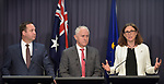 Cecilia Malmstrom, Trade Commissioner of the European Union (R), speaks with Malcolm Turnbull, Australian Prime Minister (C), and Steven Ciobo, Australian Minister of Trade (L), during a press conference at Parliament House, Canberra, Monday, June 18, 2018.