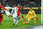 15.03.2019, Borussia Park , Moenchengladbach, GER, 1. FBL,  Borussia Moenchengladbach vs. SC Freiburg,<br />  <br /> DFL regulations prohibit any use of photographs as image sequences and/or quasi-video<br /> <br /> im Bild / picture shows: <br /> Flanke von Thorgan Hazard (Gladbach #10),  zu Alassane Pléa (Gladbach #14),  fuehrt zum  1:1<br /> <br /> Foto © nordphoto / Meuter