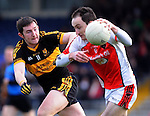 22-01-12:  Daithi Casey, Dr Crokes, tackles Kieran Cahill, Rathmore in the East Kerry O'Donoghue Cup final  in Fitzgerald Stadium, Killarney on Sunday. Picture: Eamonn Keogh ( MacMonagle, Killarney)