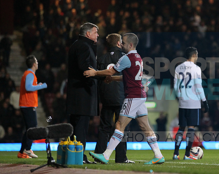 West Ham's Joe Cole gets substituted 2 minutes into the second half<br /> <br /> West Ham United vs Manchester City  - League Cup Semi Final, Second Leg  - Upton Park - London - England - 21/01/2014  - Pic David Klein/Sportimage