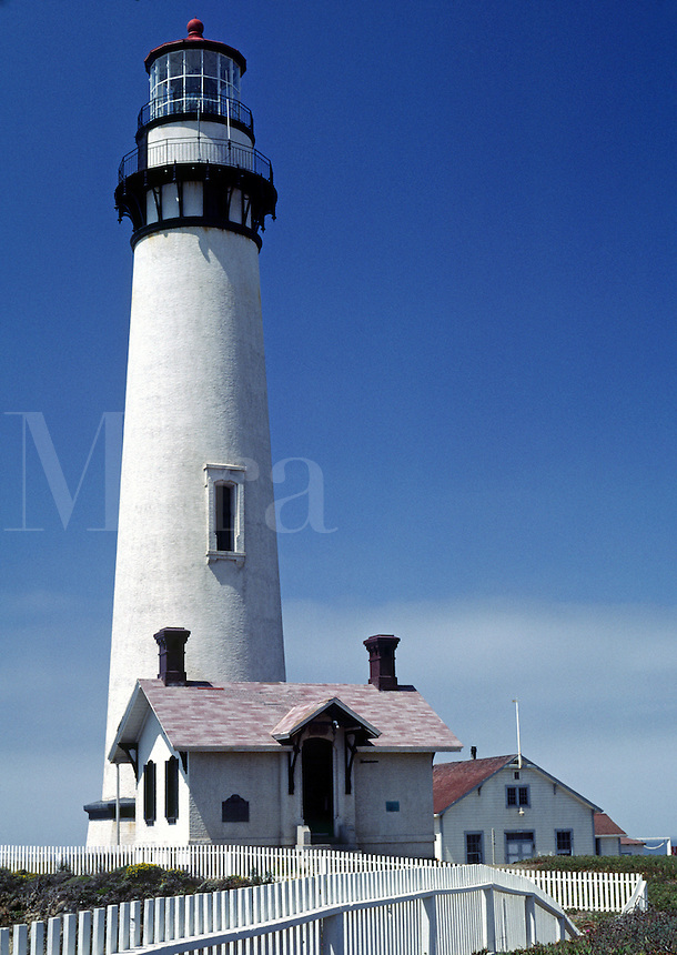 PIDGIN POINT LIGHTHOUSE, built in 1871, is located north of SANTA CRUZ on the California coast.