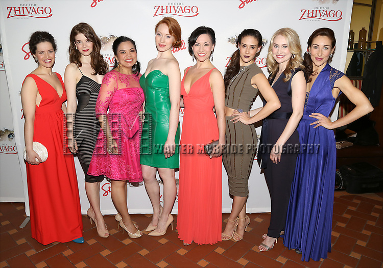Briana Carlson-Goodman, Jesse Wildman, Melody Butiu, Kira Guloien, Wendi Bergamini, Ericka Hunter, Heather Botts and Pilar Millhollen attend the Broadway Opening Night After Party for 'Doctor Zhivago' at Rockefeller Center on April 21, 2015 in New York City.