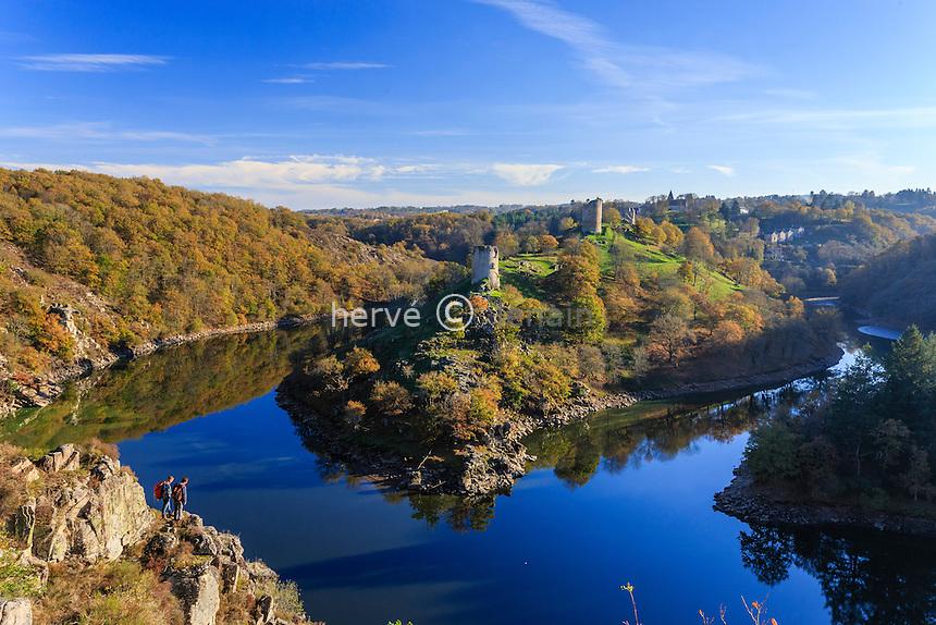 France, Creuse et Indre, Crozant, la boucle de la Creuse et jonction avec la Sédelle en automne