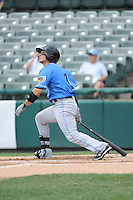 Akron RubberDucks infielder Tony Walters (1) hits a home run during game against the Trenton Thunder at ARM & HAMMER Park on July 14, 2014 in Trenton, NJ.  Akron defeated Trenton 5-2.  (Tomasso DeRosa/Four Seam Images)