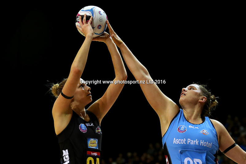 Te Huinga Selby-Rickit (R) of the Steel defends Jo Harten of the Magics shot at goal during the ANZ Championship netball match between the Southern Steel and Waikato Bay of Plenty Magic, ILT Stadium Southland, Invercargill, Sunday, June 19, 2016. Photo: Dianne Manson / www.photosport.nz