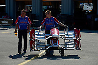 Verizon IndyCar Series<br /> Iowa Corn 300<br /> Iowa Speedway, Newton, IA USA<br /> Saturday 8 July 2017<br /> Spare nosecones for the Foyt cars are rolled out to the pits.<br /> World Copyright: F. Peirce Williams