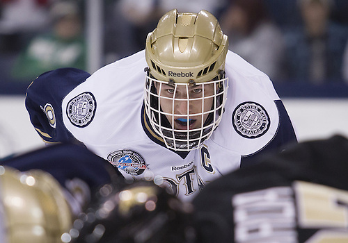 November 02, 2012:  Notre Dame center Anders Lee (#9) during NCAA Hockey game action between the Notre Dame Fighting Irish and the Western Michigan Broncos at Compton Family Ice Arena in South Bend, Indiana.  Western Michigan defeated Notre Dame 3-2.
