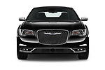 Car photography straight front view of a 2017 Chrysler 300C Platinum 4 Door Sedan Front View