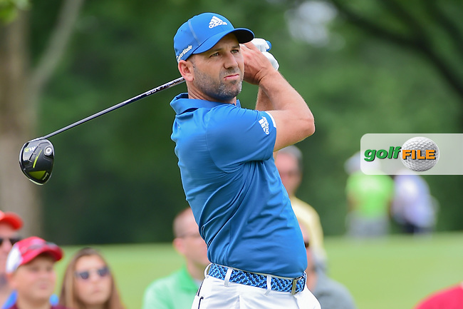 Sergio Garcia (ESP) watches his tee shot on 9 during Sunday's final round of the World Golf Championships - Bridgestone Invitational, at the Firestone Country Club, Akron, Ohio. 8/6/2017.<br /> Picture: Golffile | Ken Murray<br /> <br /> <br /> All photo usage must carry mandatory copyright credit (&copy; Golffile | Ken Murray)
