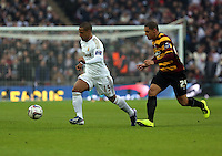 Pictured: (L-R) Wayne Routledge and Nathan Doyle. Sunday 24 February 2013<br /> Re: Capital One Cup football final, Swansea v Bradford at the Wembley Stadium in London.