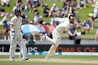 1st December 2019, Hamilton, New Zealand;  Daryl Mitchell bowls.<br /> International test match cricket, New Zealand versus England at Seddon Park, Hamilton, New Zealand. Sunday 1 December 2019.