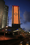 Israel, Tel Aviv, an illuminated Israeli flag at Azrieli Center on Independence day