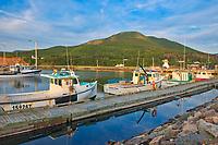Fishing boats in coastal village. Cape Breton Island. Cabot Trail. <br />Pleasant Bay<br />Nova Scotia<br />Canada