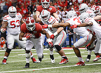 Alabama Crimson Tide running back T.J. Yeldon (4) rushes for a touchdown in the second quarter of the Allstate Sugar Bowl and College Football Playoff Semifinal at Mercedes-Benz Superdome in New Orleans, Thursday night, January 1, 2015. As of half time the Alabama Crimson Tide led the Ohio State Buckeyes 21 - 20. (The Columbus Dispatch / Eamon Queeney)