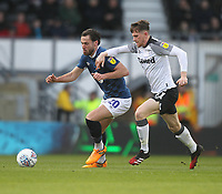 Blackburn Rovers Ben Brereton  battles with  Derby County's Max Bird<br /> <br /> Photographer Mick Walker/CameraSport<br /> <br /> The EFL Sky Bet Championship - Derby County v Blackburn Rovers - Sunday 8th March 2020  - Pride Park - Derby<br /> <br /> World Copyright © 2020 CameraSport. All rights reserved. 43 Linden Ave. Countesthorpe. Leicester. England. LE8 5PG - Tel: +44 (0) 116 277 4147 - admin@camerasport.com - www.camerasport.com