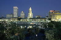 Providence, Rhode Island.Downtown at night seen from Waterplace Park