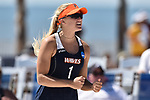 GULF SHORES, AL - MAY 07: Corinne Quiggle (1) of Pepperdine University celebrates a point against the University of Hawaii during the Division I Women's Beach Volleyball Championship held at Gulf Place on May 7, 2017 in Gulf Shores, Alabama. (Photo by Stephen Nowland/NCAA Photos via Getty Images)