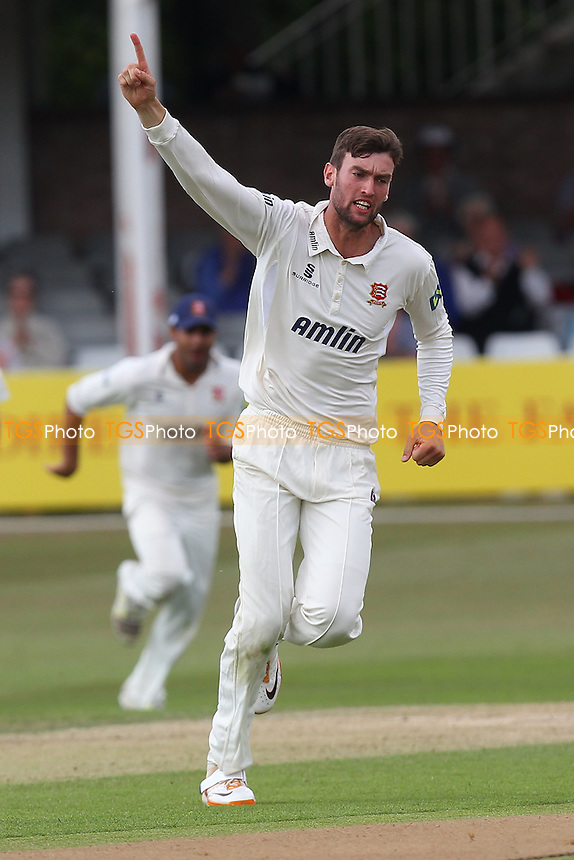 Reece Topley of Essex celebrates the wicket of Hamish Marshall - Essex CCC vs Gloucestershire CCC - LV County Championship Division Two Cricket at the Ford County Ground, Chelmsford - 01/07/14 - MANDATORY CREDIT: Gavin Ellis/TGSPHOTO - Self billing applies where appropriate - contact@tgsphoto.co.uk - NO UNPAID USE