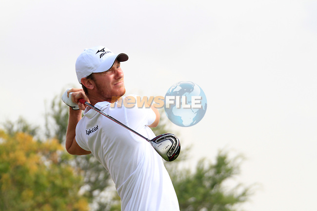 Chris Wood tees off on the 11th tee during Thusday Day 1 of the Abu Dhabi HSBC Golf Championship, 20th January 2011..(Picture Eoin Clarke/www.golffile.ie)