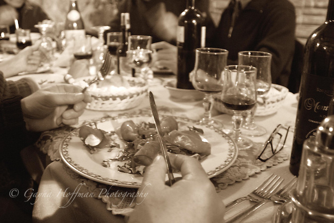 Sepia toned Sicilian dinner table. B/W