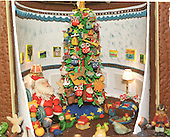 """Washington, DC - December 4, 2000 -- Detail of """"The Blue Room"""" inside the traditional gingerbread house in the State Dining Room of the White House in Washington, D.C. on December 4, 2000..Credit: Ron Sachs - CNP"""