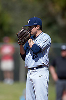 Butler Bulldogs starting pitcher Nick Morton (29) looks in for the sign during a game against the Indiana Hoosiers on March 6, 2016 at North Charlotte Regional Park in Port Charlotte, Florida.  Indiana defeated Butler 2-1.  (Mike Janes/Four Seam Images)