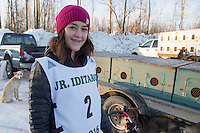 Baily Schaeffer at the start of the 2016 Junior Iditarod Sled Dog Race on Willow Lake  in Willow, AK February 27, 2016