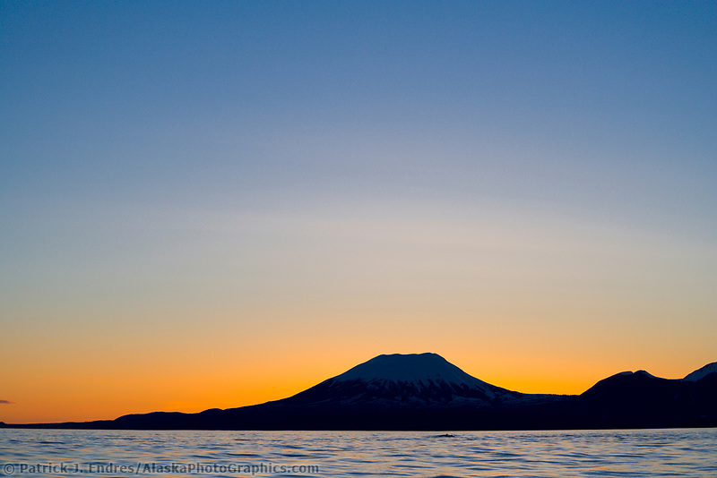 Sunset behind mount Edgecumbe, an inactive volcano on Kruzof Island, southeast Alaska.