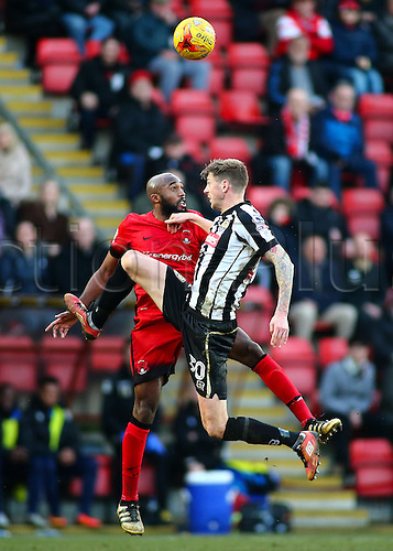 February 18th 2017,  Matchroom Stadium, Leyton, London, England, Skybet Division 2 football, Leyton Orient versus Notts County;  Jonathan Stead of Notts County and Nigel Atangana of Leyton Orient climb high for a header