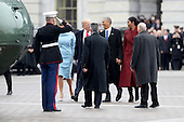 United States President Donald Trump and former US resident Barack Obama exchange words at the U.S. Capitol as the Obamas prepare to depart on January 20, 2017 in Washington, DC. In today's inauguration ceremony Donald J. Trump becomes the 45th president of the United States. <br /> Credit: Rob Carr / Pool via CNP