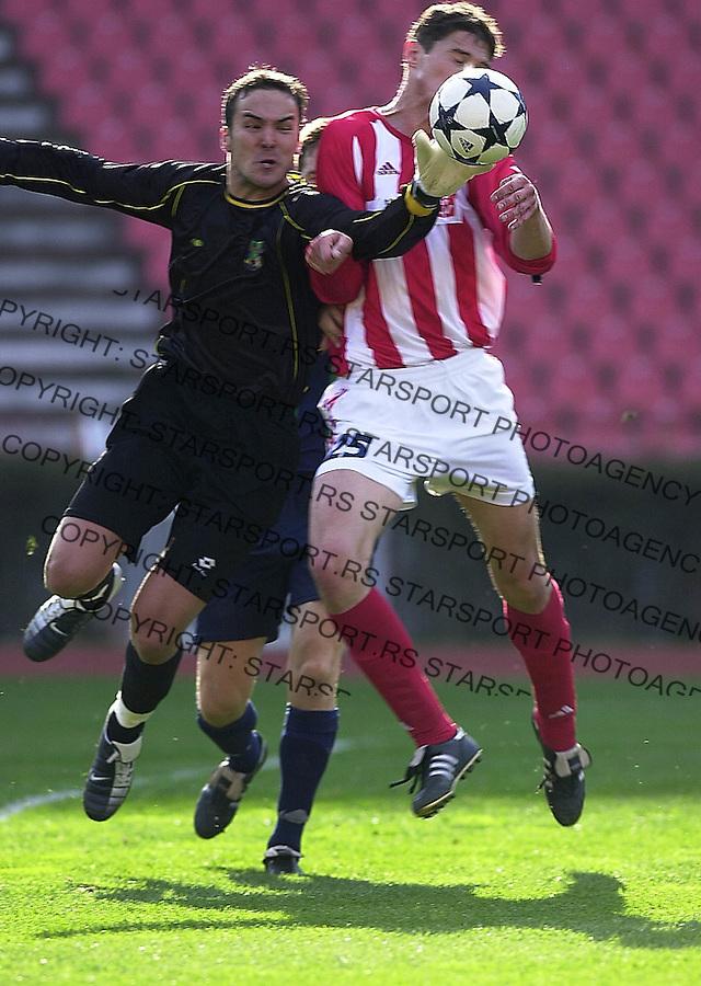 SPORT FUDBAL CRVENA ZVEZDA ZEMUN Vladimir Stojkovic i Nikola Zigic 21.03.2004. foto: Pedja Milosavljevic<br />