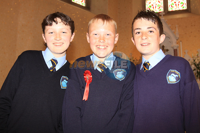 Karl McGuinness, James O'Neill and Thomas McConnell Confirmation in Duleek Co Meath..Picture Fran Caffrey/Newsfile.ie