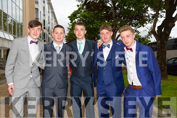 Having a great time at the Rathmore debs at Brandon Hotel on Thursday were  l-r David Murphy, Gerard Nagle, DJ Murphy, Kieran O'Connor and Dane Hass