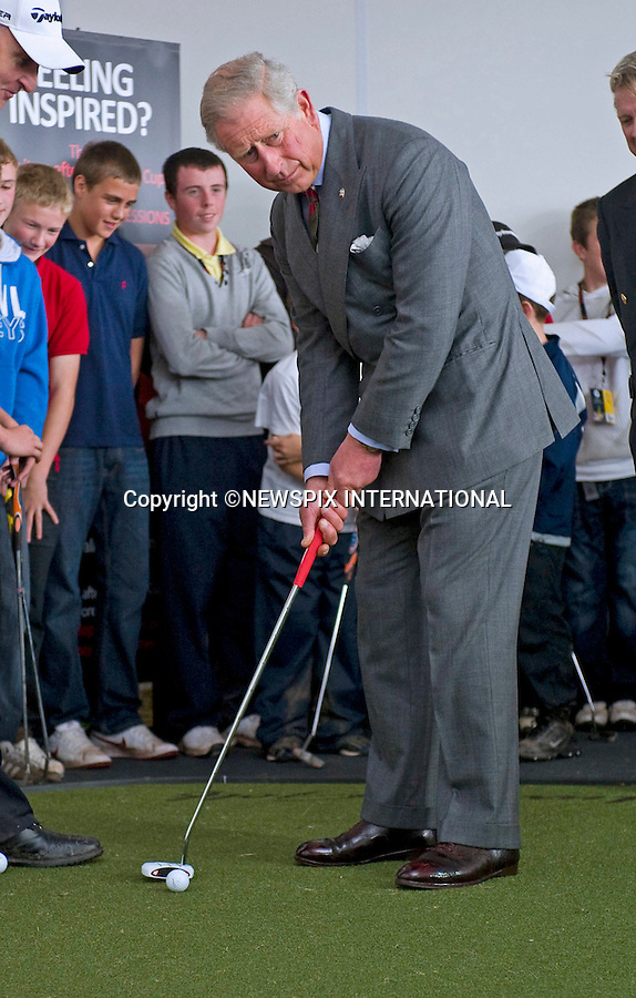 """PRINCE CHARLES.The Prince of Wales, Prince Charles visits the first Ryder Cup to be held in Wales at Celtic Manor..The Prince met the captains of both the US and European teams Colin Montgomerie and Corey Pavin_Newport, Wales _29/09/2010.Mandatory Credit Photo: ©DIAS-NEWSPIX INTERNATIONAL..**ALL FEES PAYABLE TO: """"NEWSPIX INTERNATIONAL""""**..IMMEDIATE CONFIRMATION OF USAGE REQUIRED:.Newspix International, 31 Chinnery Hill, Bishop's Stortford, ENGLAND CM23 3PS.Tel:+441279 324672  ; Fax: +441279656877.Mobile:  07775681153.e-mail: info@newspixinternational.co.uk"""