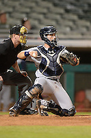 Peoria Javelinas catcher Austin Hedges (11), of the San Diego Padres organization, during an Arizona Fall League game against the Mesa Solar Sox on October 17, 2013 at HoHoKam Park in Mesa, Arizona.  Mesa defeated Peoria 6-1.  (Mike Janes/Four Seam Images)