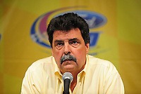 Nov. 14, 2008; Homestead, FL, USA; NASCAR Sprint Cup Series president Mike Helton speaks at a press conference to announce the elimination of testing for 2009 following practice for the Ford 400 at Homestead Miami Speedway. Mandatory Credit: Mark J. Rebilas-